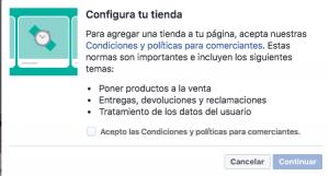 Aviso legal tienda en facebook