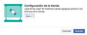 moneda de pago en tienda en facebook