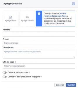 añadir productos en facebook