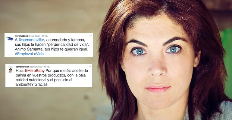 Samanta Villar y Hero Baby. Crisis de marca en Twitter.