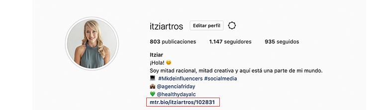 enlace en bio de instagram